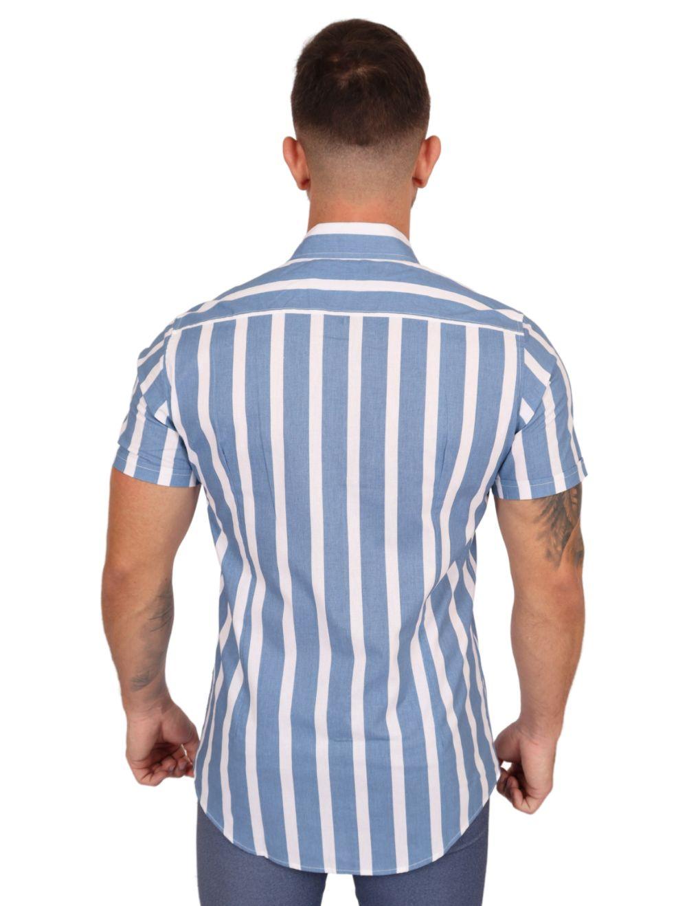 Camisa Masculina Manga Curta Slim Azul Listrada