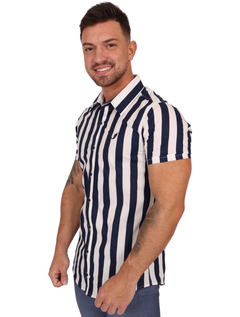 Camisa Masculina Manga Curta Slim Azul Marinho Listrada