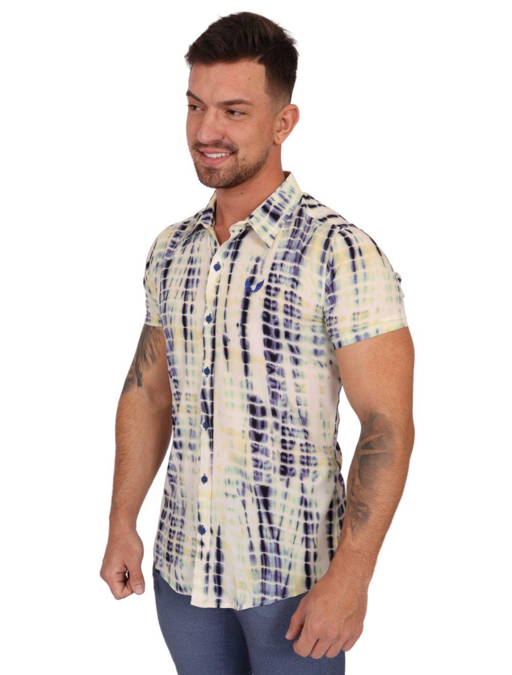Camisa Masculina Manga Curta Slim com Elastano Creme