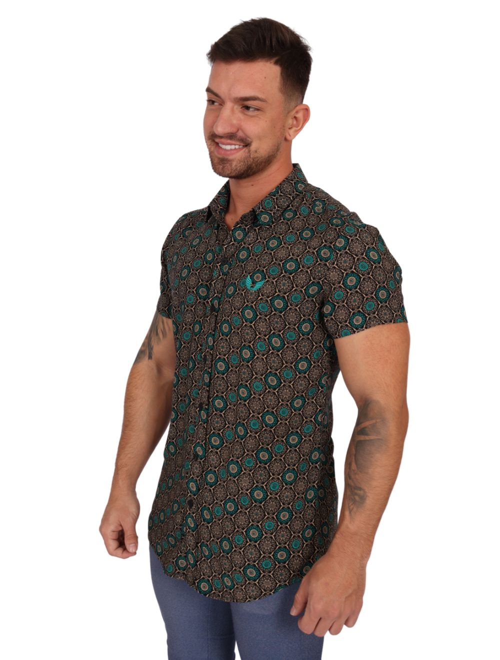 Camisa Masculina Manga Curta Slim Geométrica