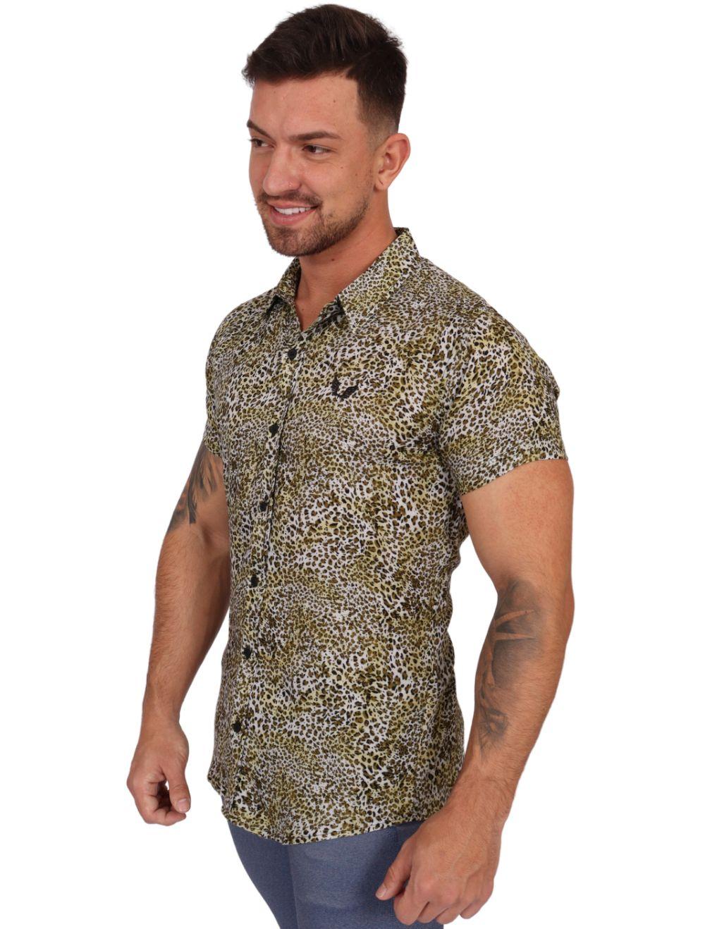 Camisa Masculina Manga Curta Slim Onça