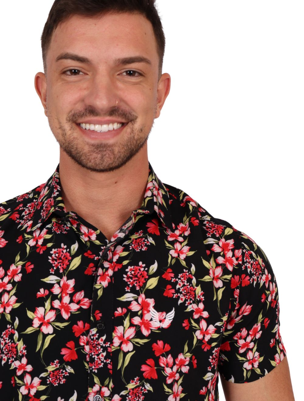 Camisa Masculina Manga Curta Slim Preta com Floral Vermelho