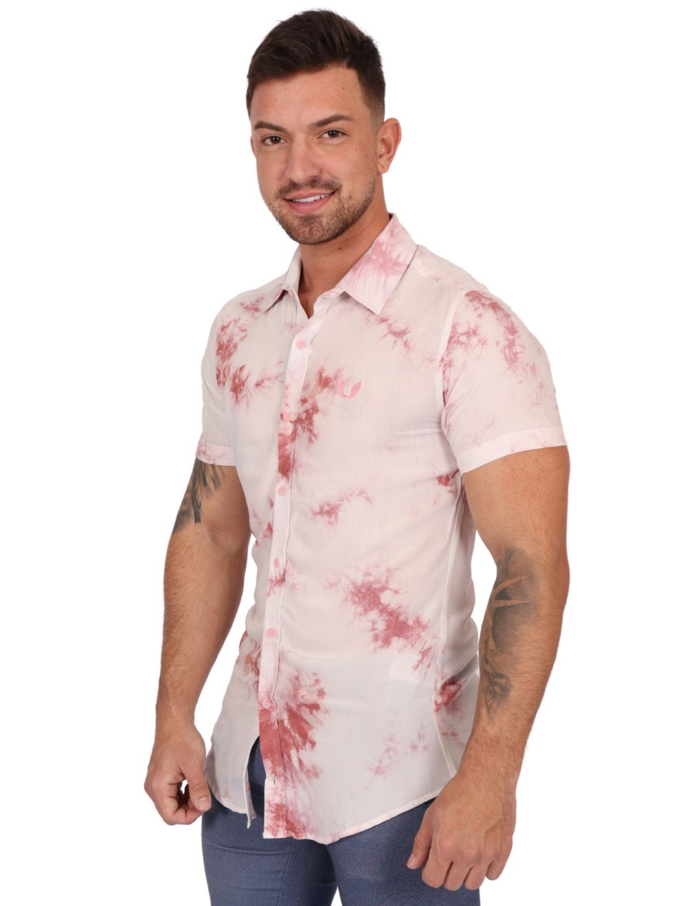 Camisa Masculina Manga Curta Slim Tie Dye Rosa Salmão