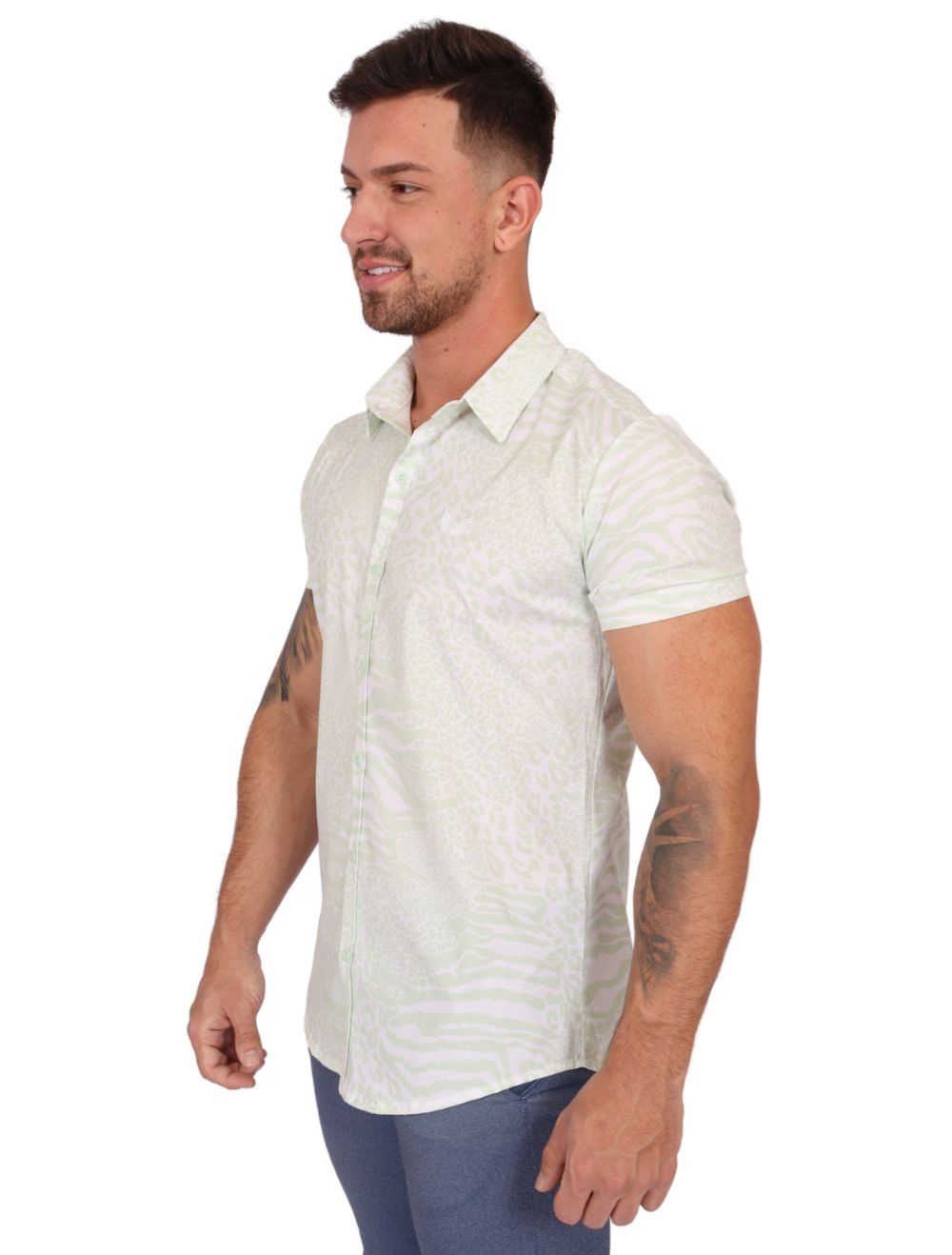 Camisa Masculina Manga Curta Slim Verde