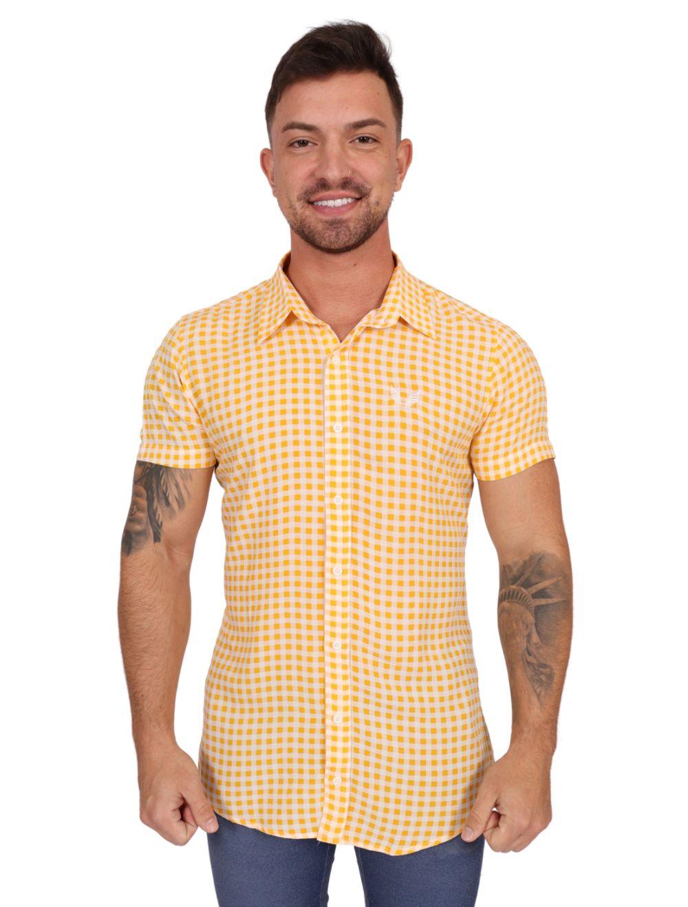 Camisa Masculina Manga Curta Xadrez Amarelo