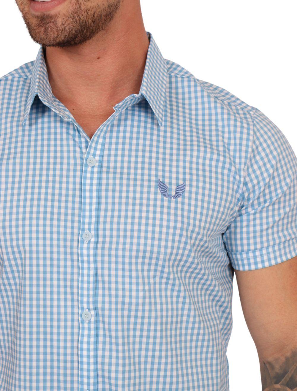 Camisa Masculina Manga Curta Xadrez Azul