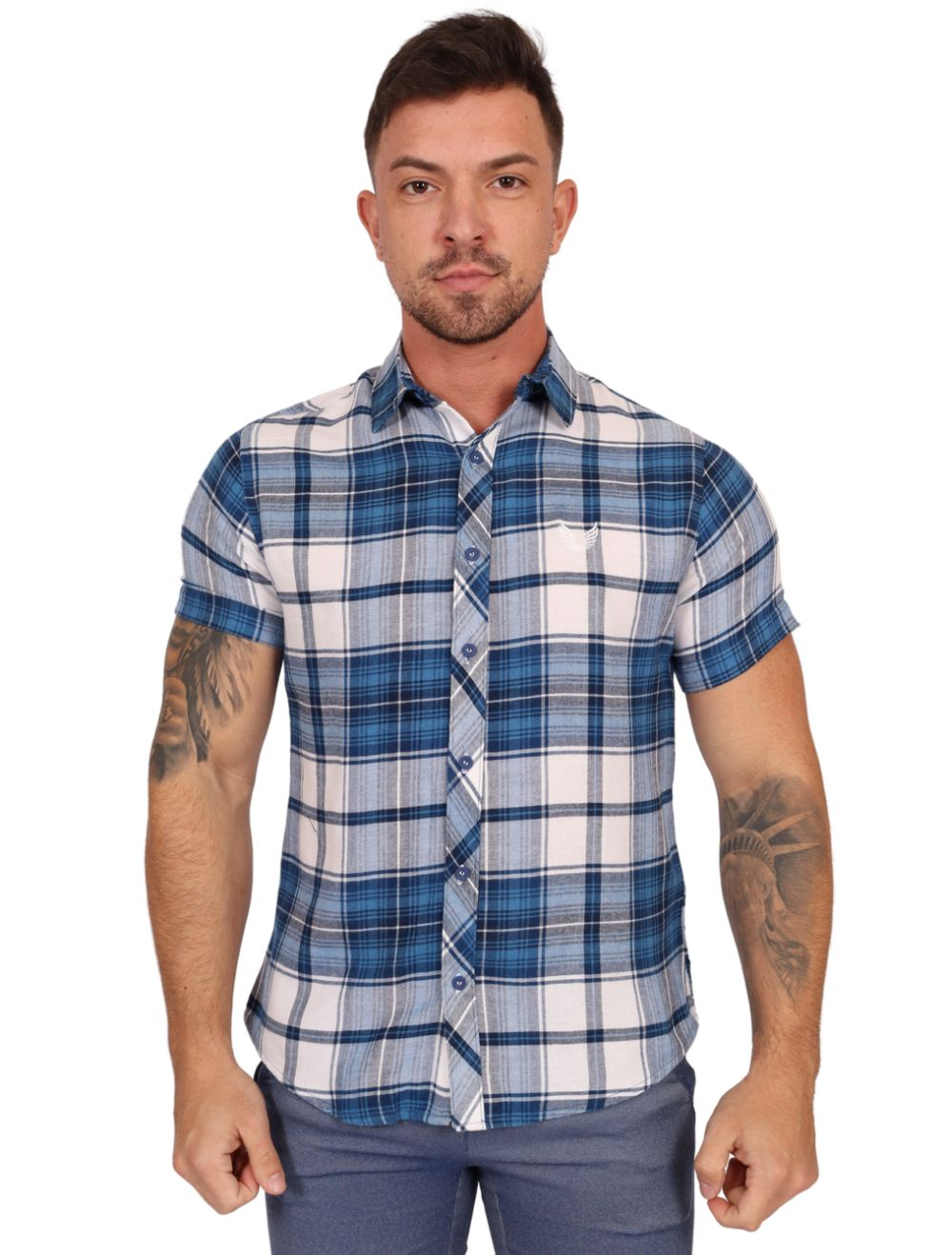 Camisa Masculina Manga Curta Xadrez Azul/Branco