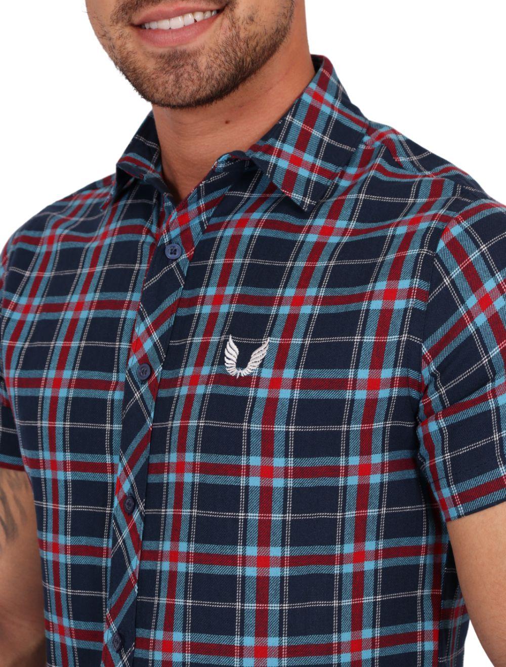 Camisa Masculina Manga Curta Xadrez Azul Marinho
