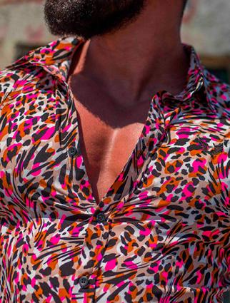 Camisa Masculina Slim Animal Print Color