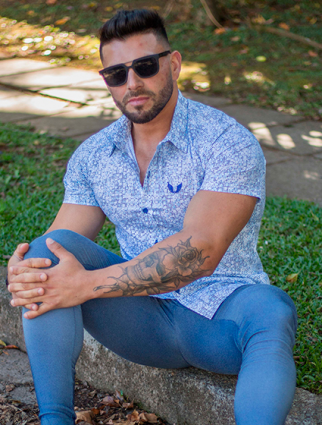 Camisa Masculina Slim Estampada