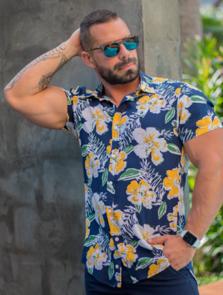 Camisa Masculina Slim Manga Curta Azul Floral