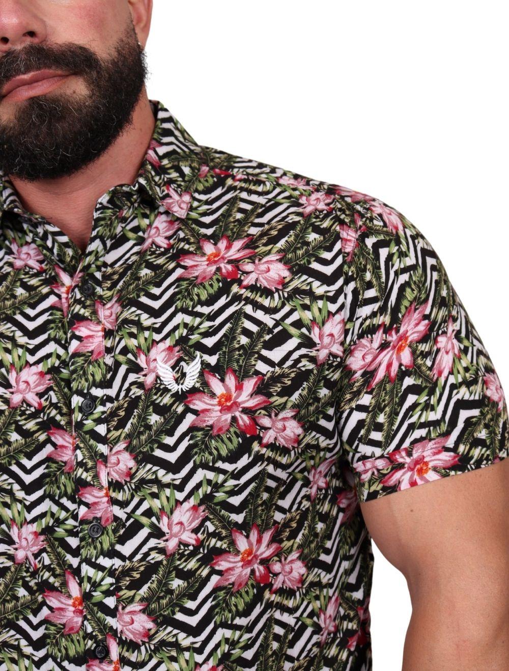 Camisa Masculina Slim Manga Curta Colorida