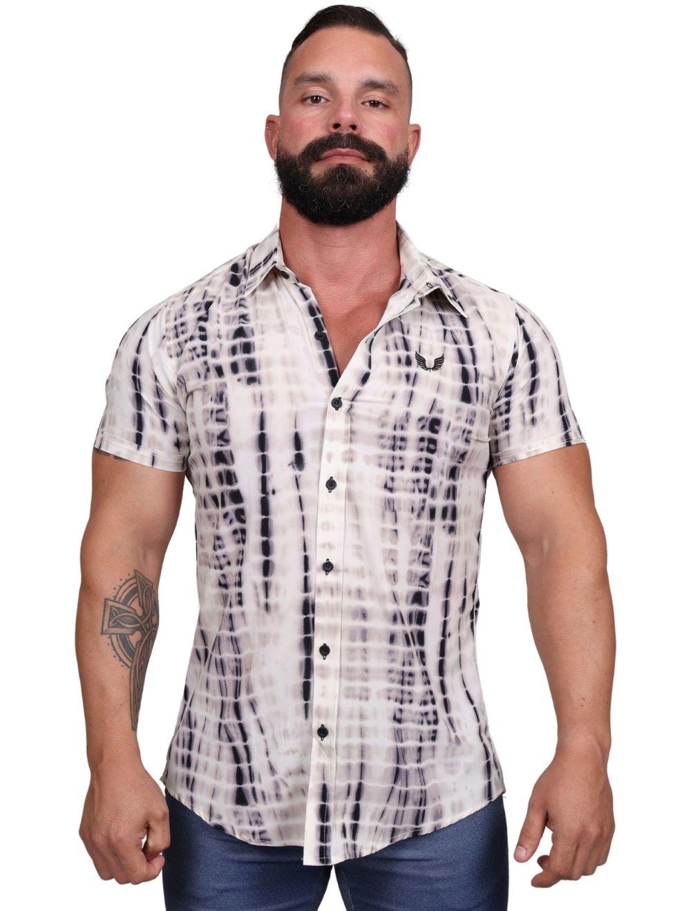 Camisa Masculina Slim Manga Curta com Elastano