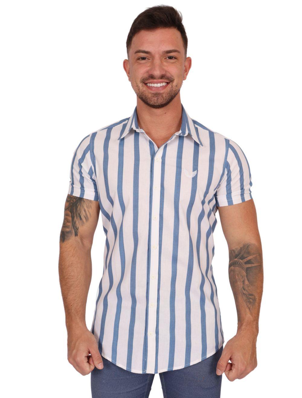 Camisa Masculina Slim Manga Curta em Tricoline Azul/Branco
