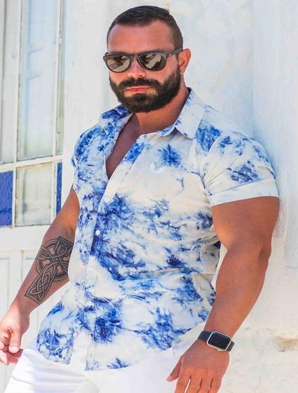 Camisa Masculina Slim Manga Curta em Viscose Tie Dye Azul