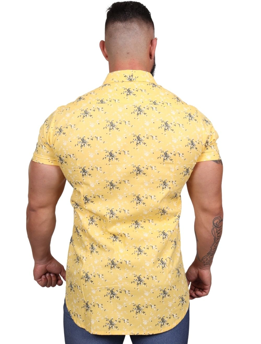 Camisa Masculina Slim Manga Curta Floral Amarela