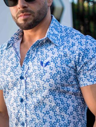 Camisa Masculina Slim Manga Curta Floral Azul