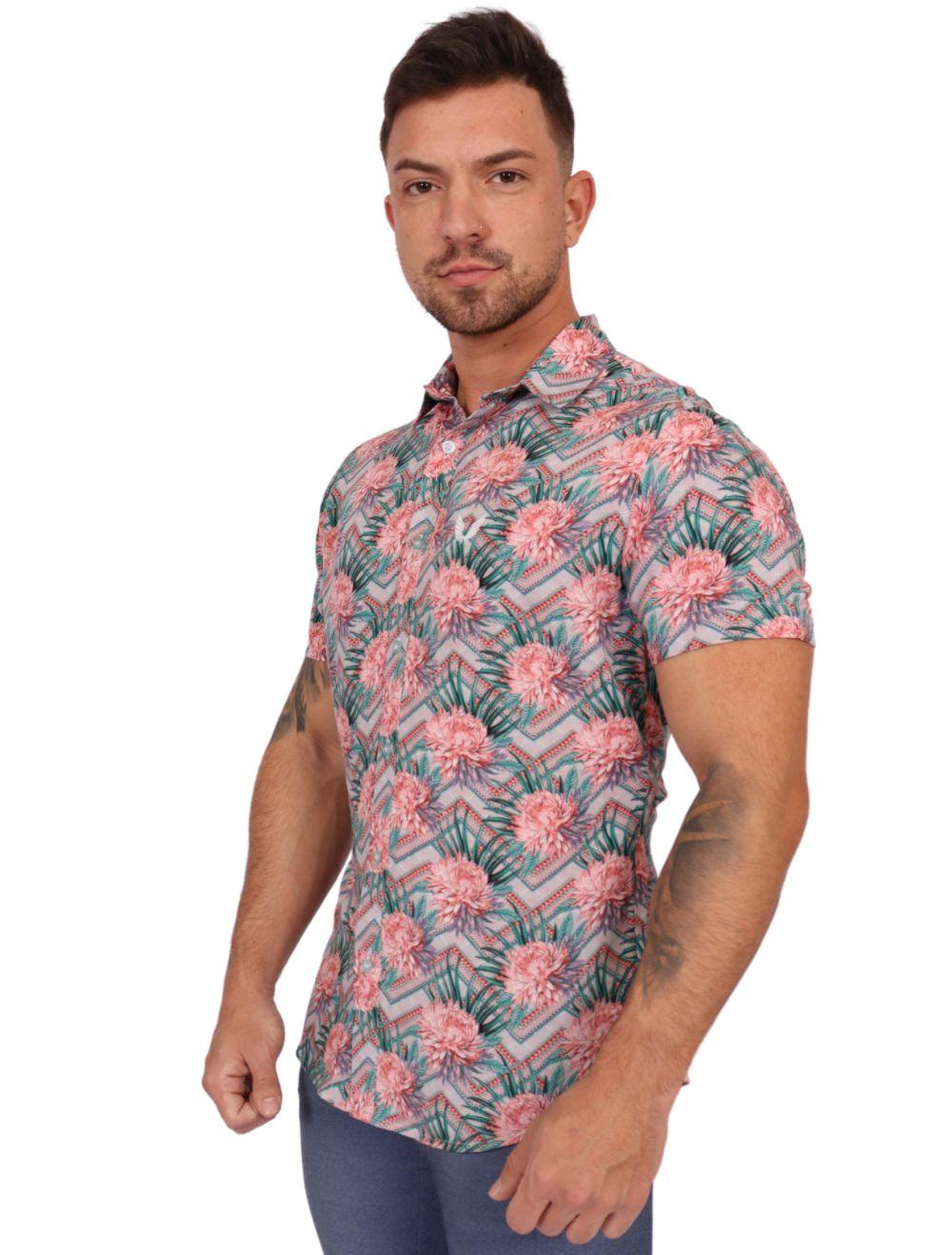 Camisa Masculina Slim Manga Curta Floral Colorida