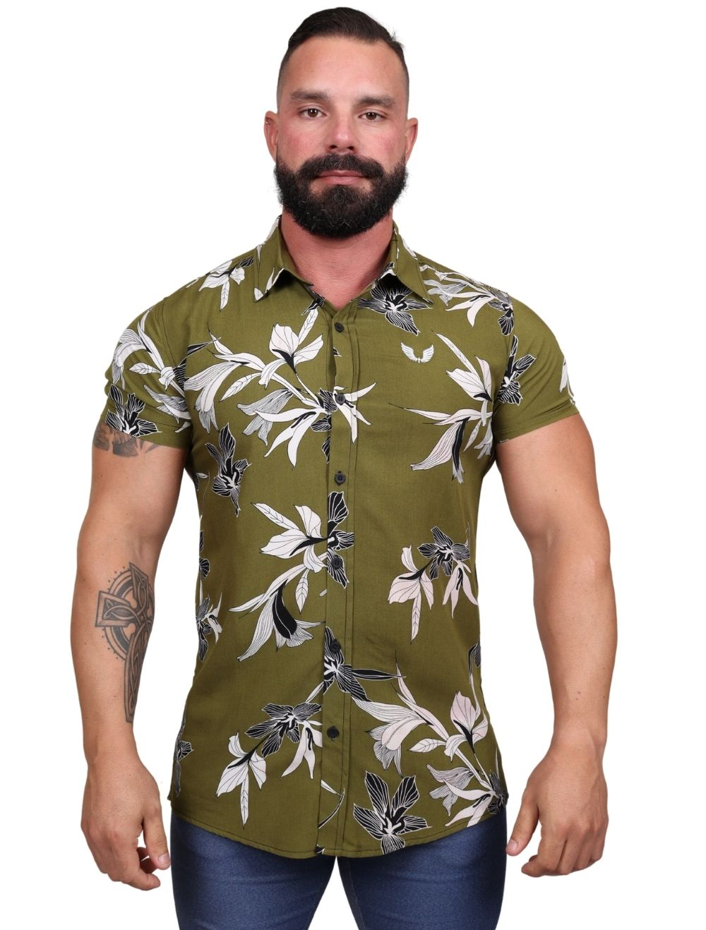 Camisa Masculina Slim Manga Curta Floral Verde
