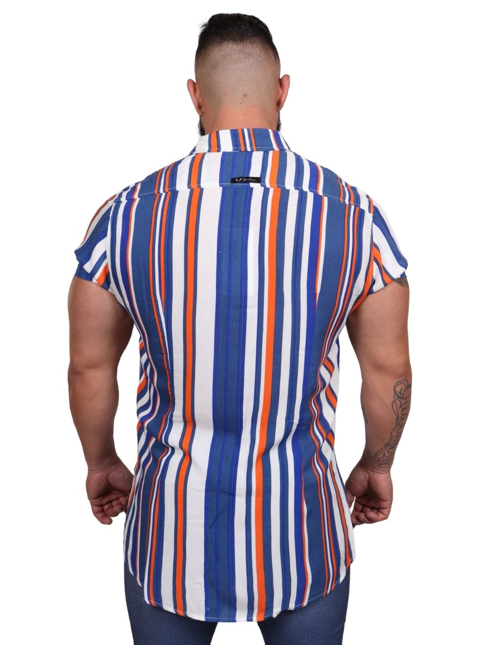 Camisa Masculina Slim Manga Curta Listrada Azul