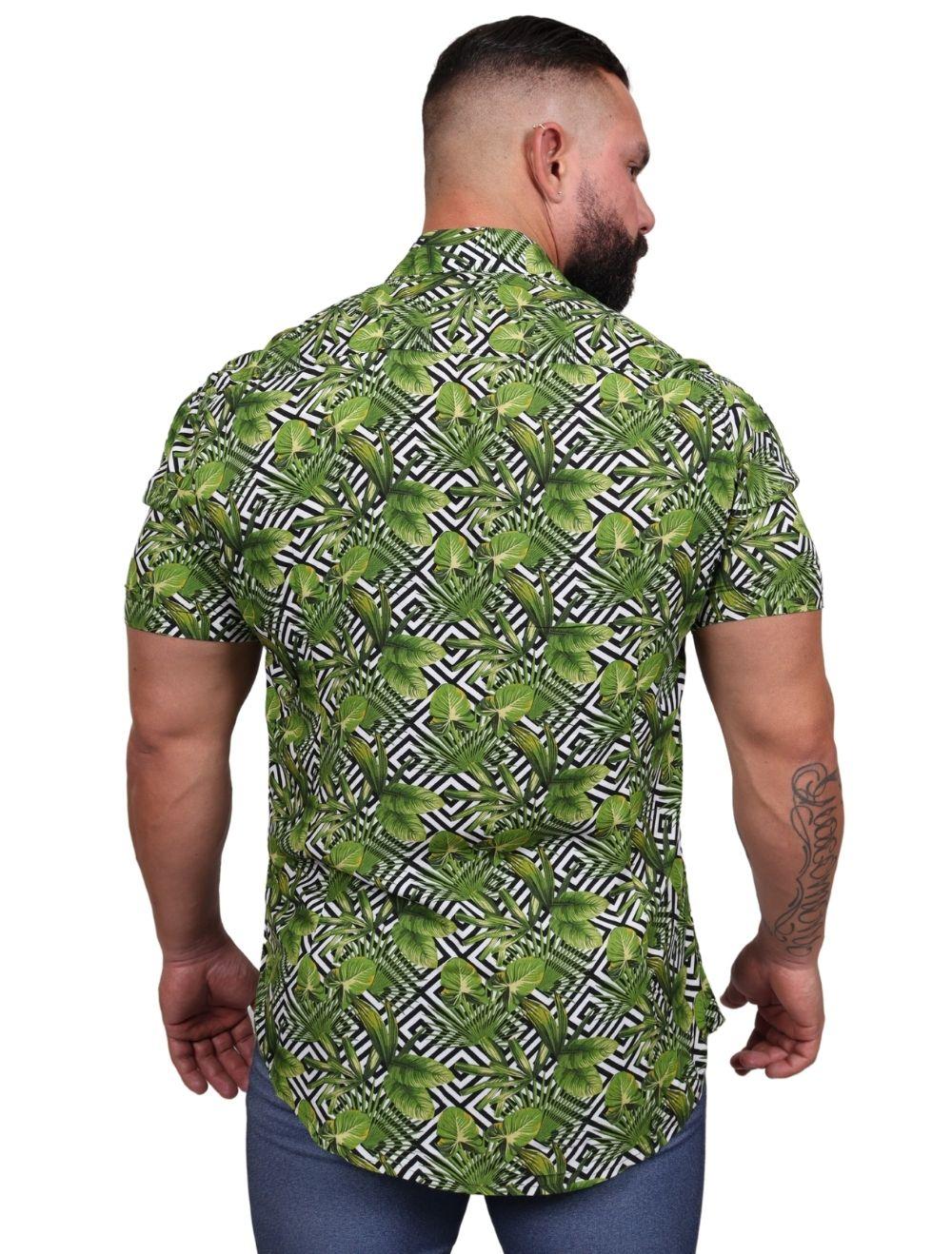Camisa Masculina Slim Manga Curta Verde Floral