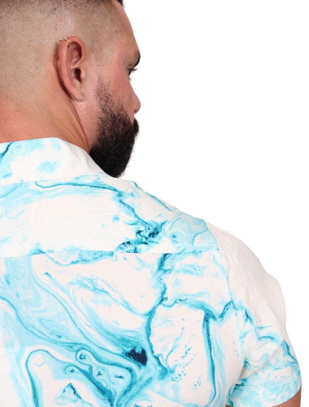 Camisa Masculina Slim Manga Curta Viscose Tie Dye Turquesa
