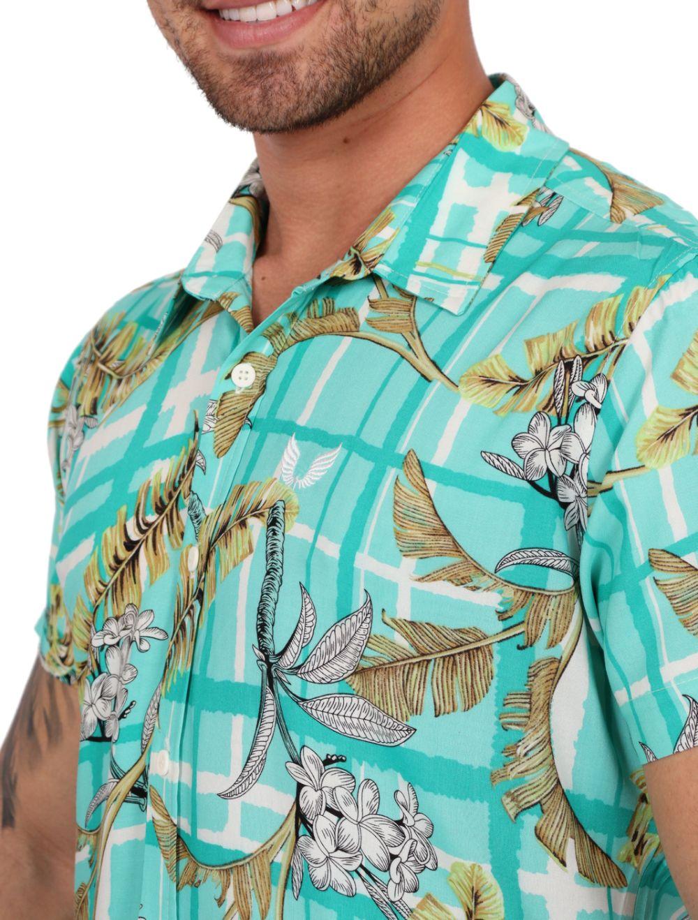 Camisa Masculina Slim Manga Curta Viscose Verde Floral