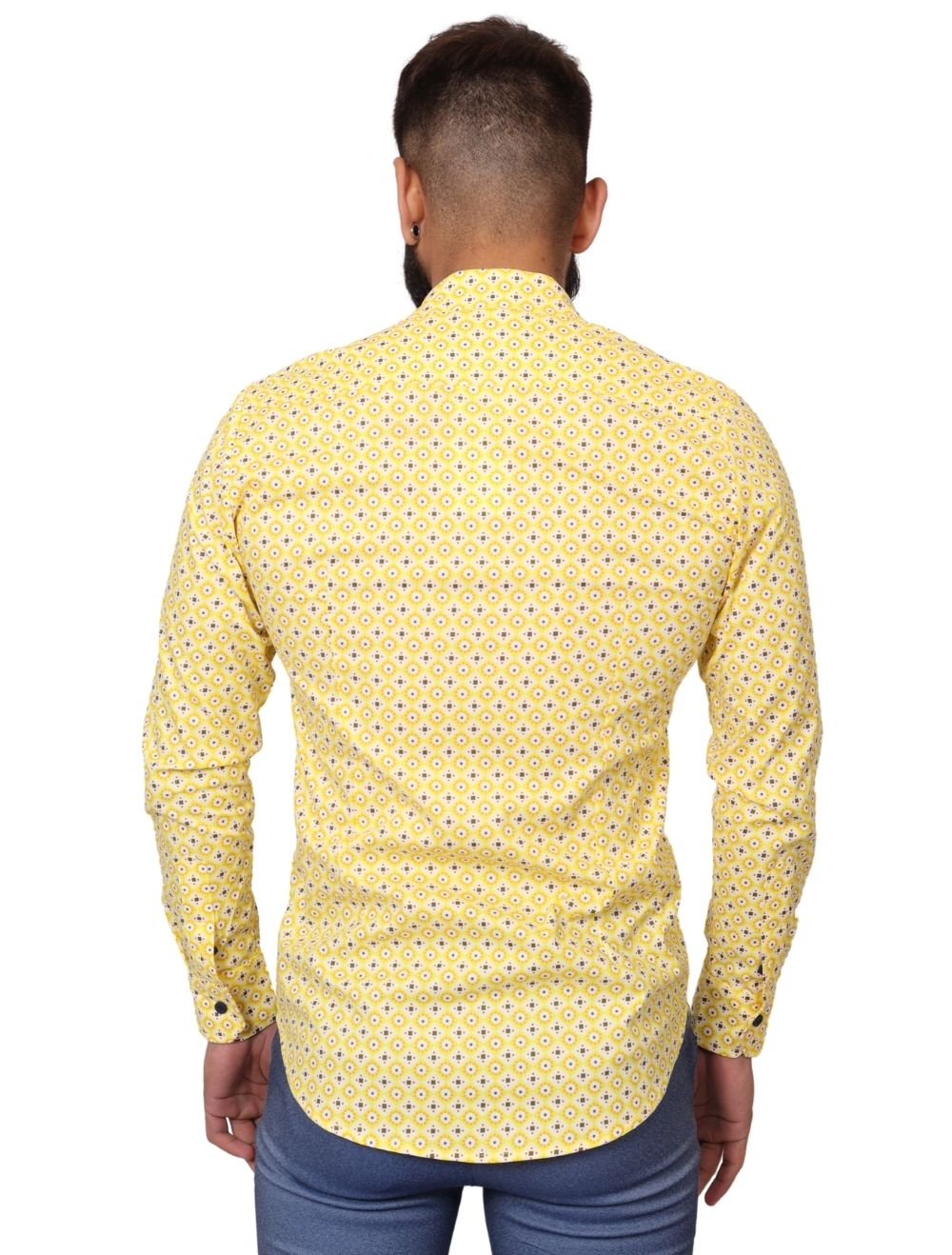 Camisa Masculina Slim Manga Longa com Elastano Amarela