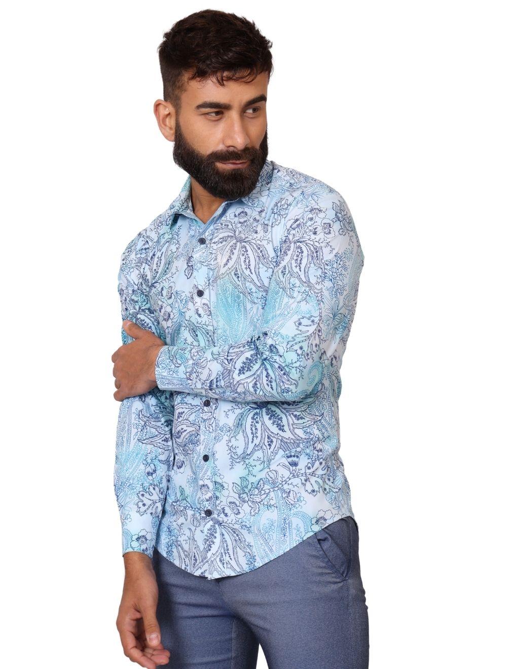 Camisa Masculina Slim Manga Longa com Elastano Arabesco Azul