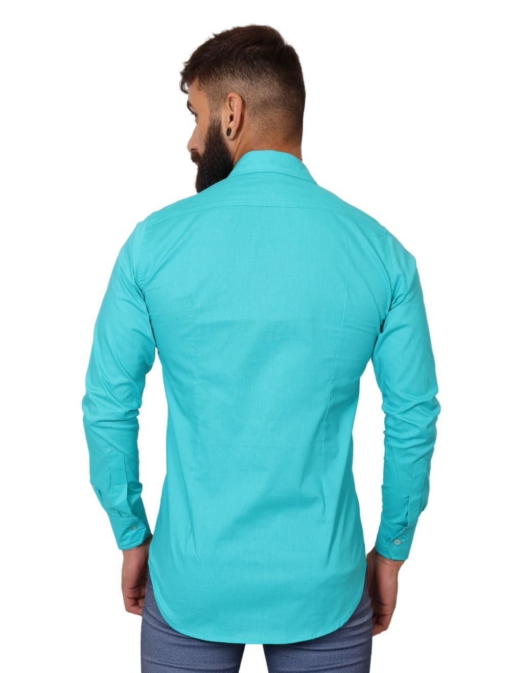 Camisa Masculina Slim Manga Longa com Elastano Azul