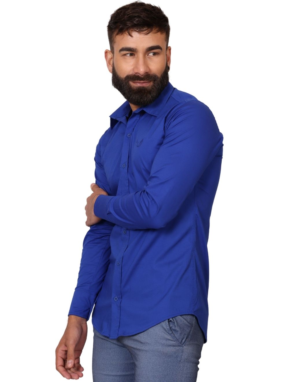 Camisa Masculina Slim Manga Longa com Elastano Azul Royal
