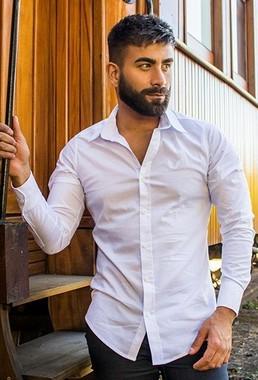 Camisa Masculina Slim Manga Longa com Elastano Branco