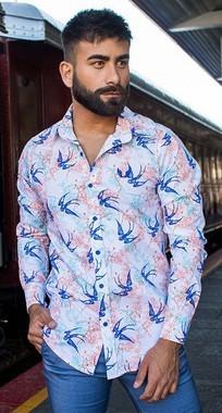 Camisa Masculina Slim Manga Longa Elastano Estampa Passaro