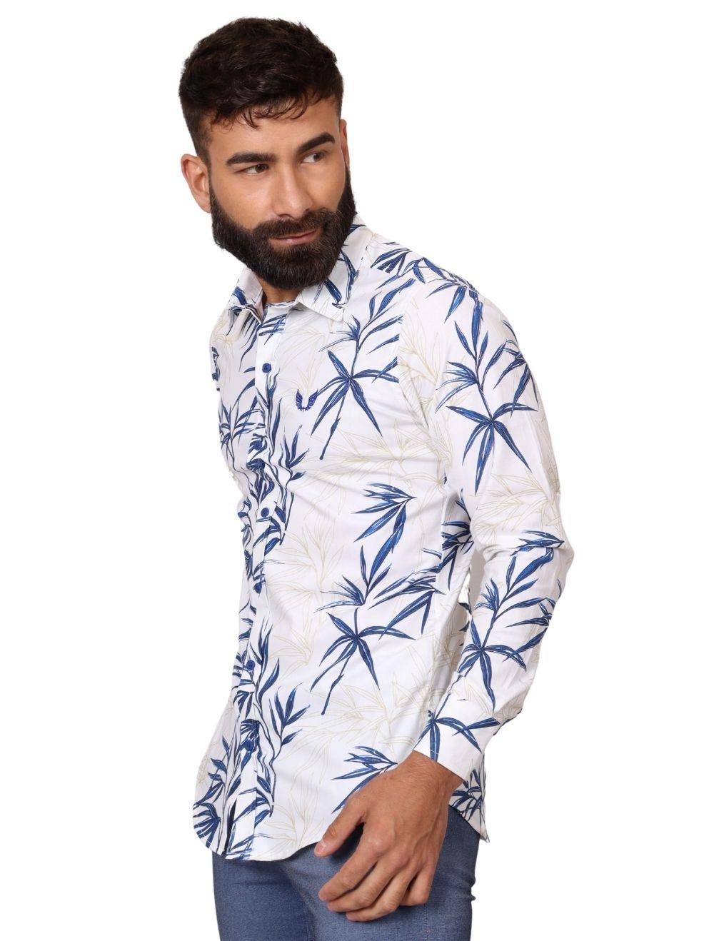 Camisa Masculina Slim Manga Longa com Elastano Estampada