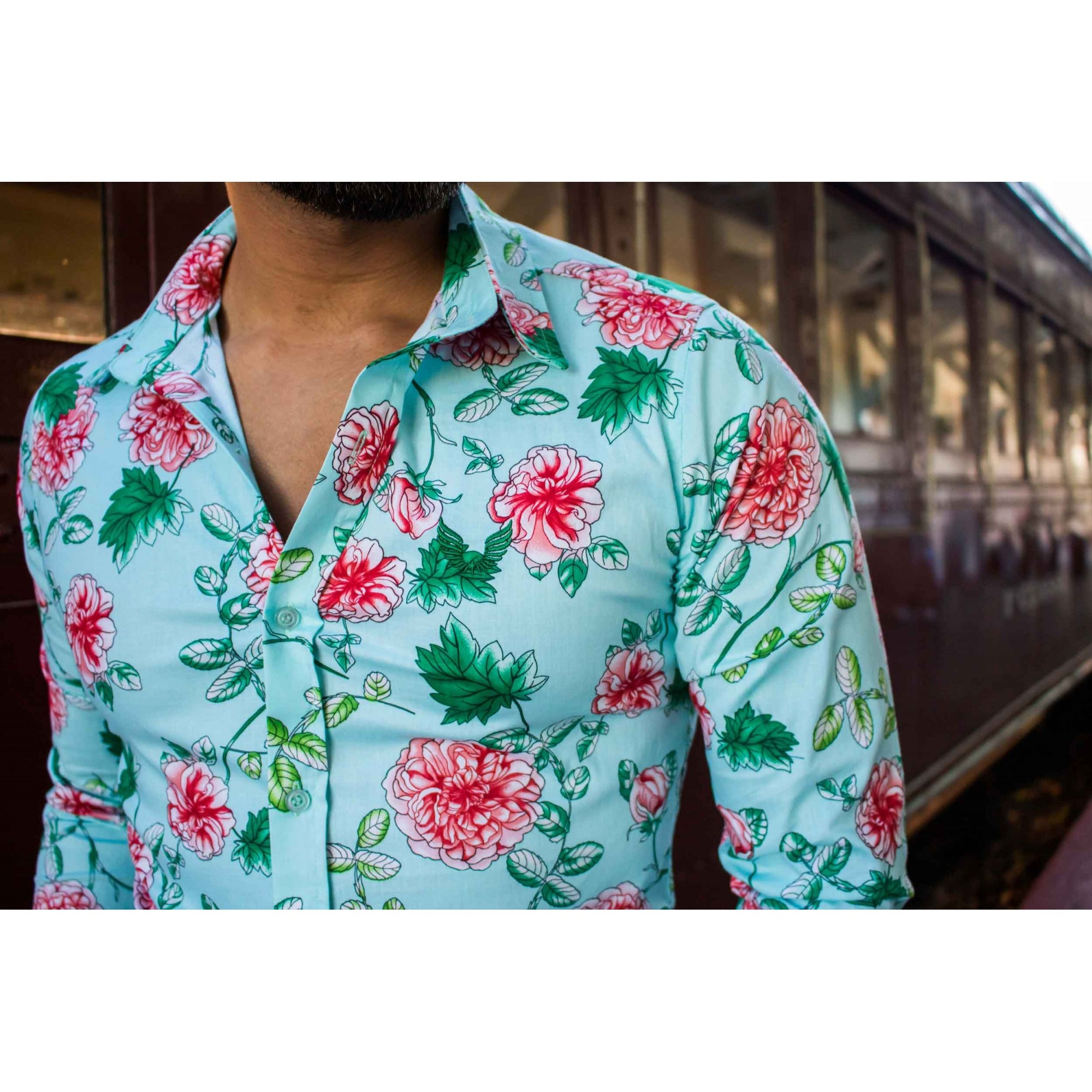 Camisa Masculina Slim Manga Longa com Elastano Verde Floral