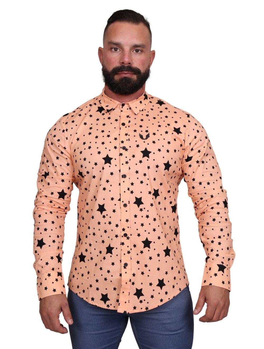 Camisa Masculina Slim Manga Longa com Elastano Estrelas
