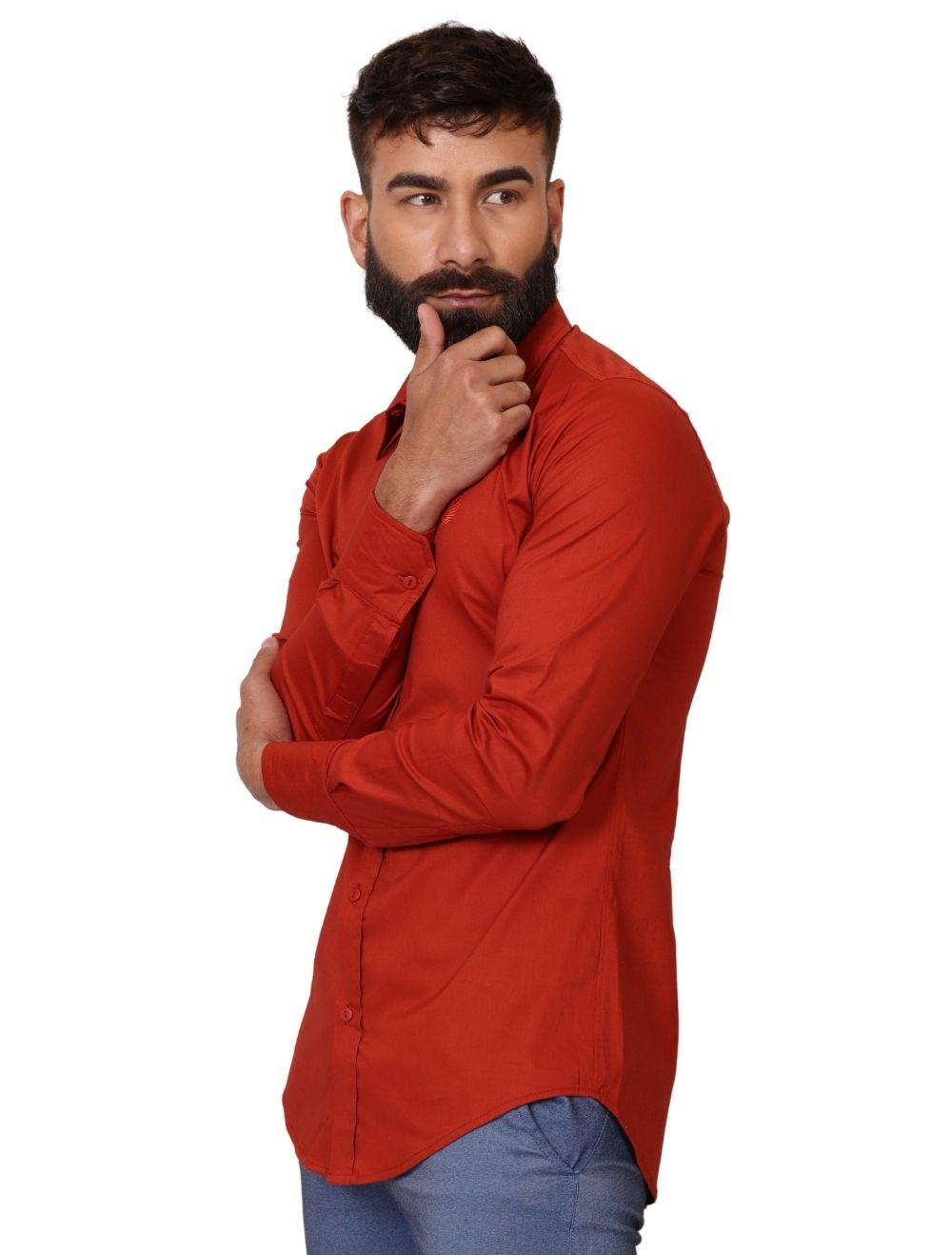 Camisa Masculina Slim Manga Longa com Elastano Ferrugem