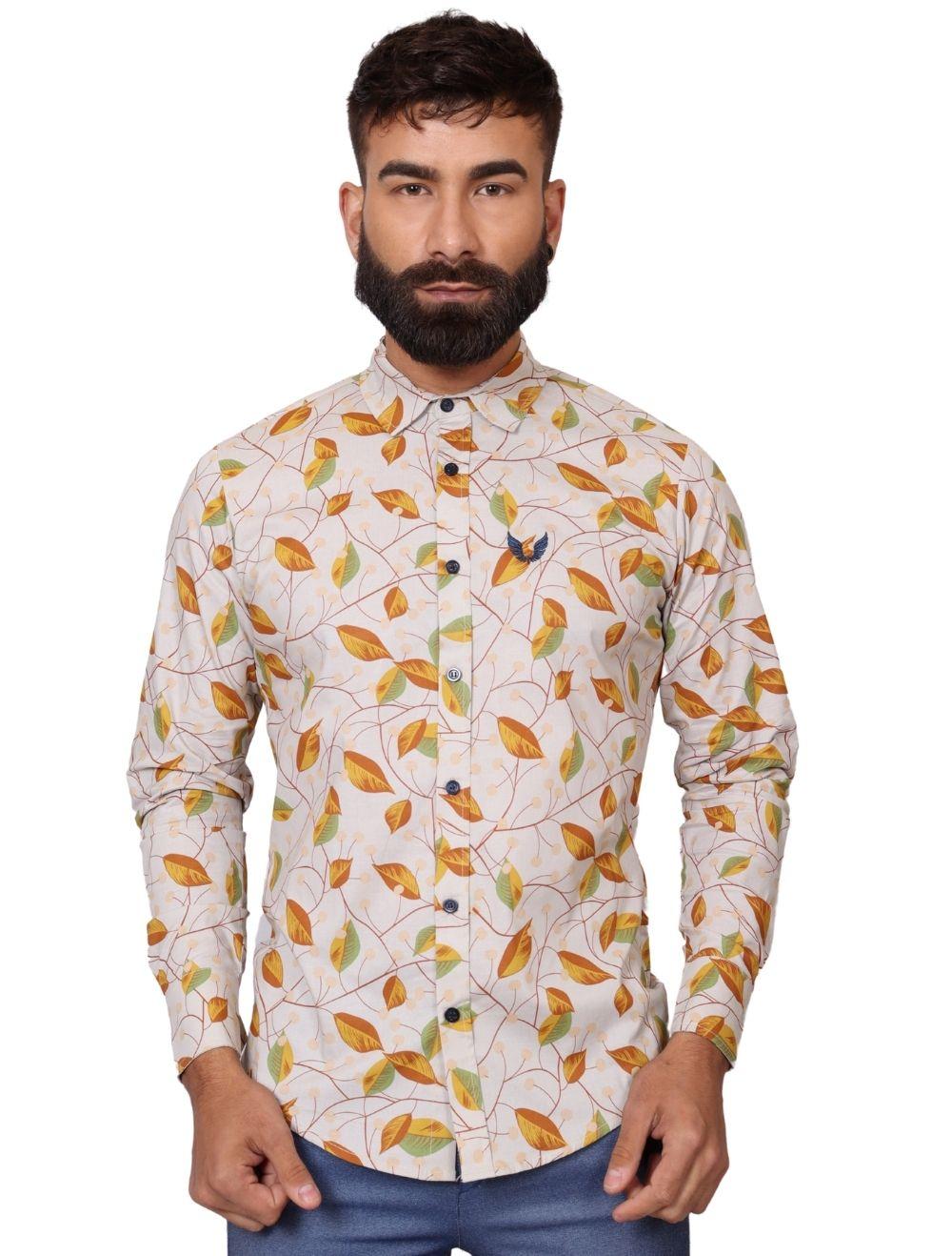 Camisa Masculina Slim Manga Longa com Elastano Folhas