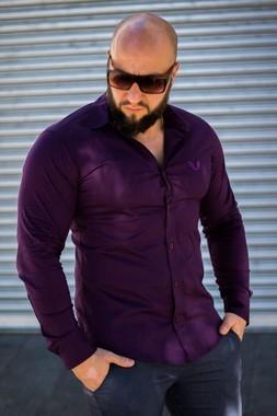Camisa Masculina Slim Manga Longa com Elastano Roxa