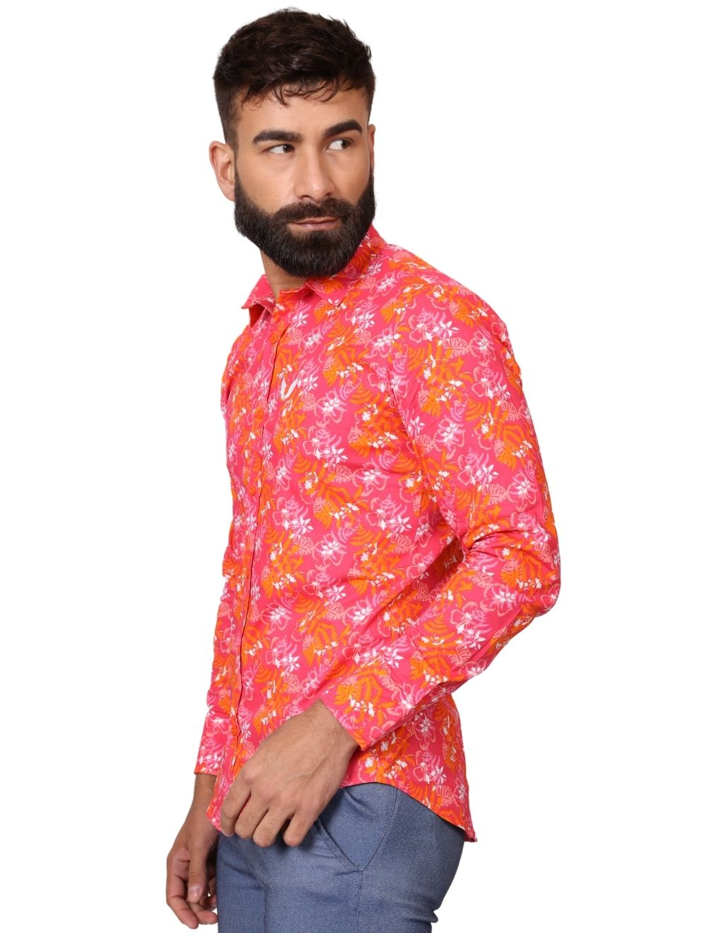 Camisa Masculina Slim Manga Longa com Elastano Vermelha