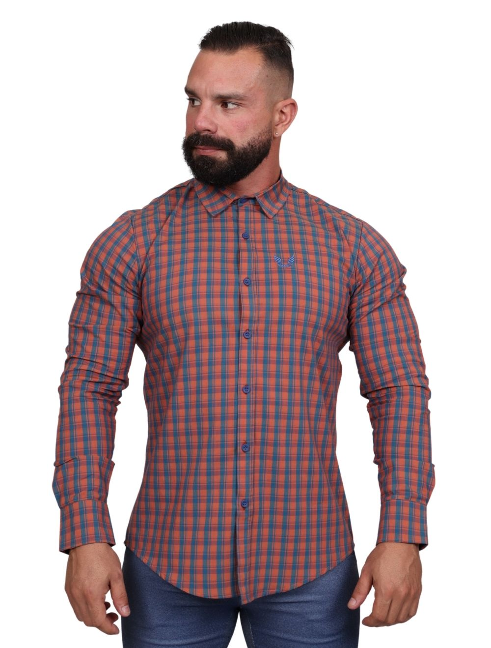 Camisa Masculina Slim Manga Longa com Elastano Xadrez