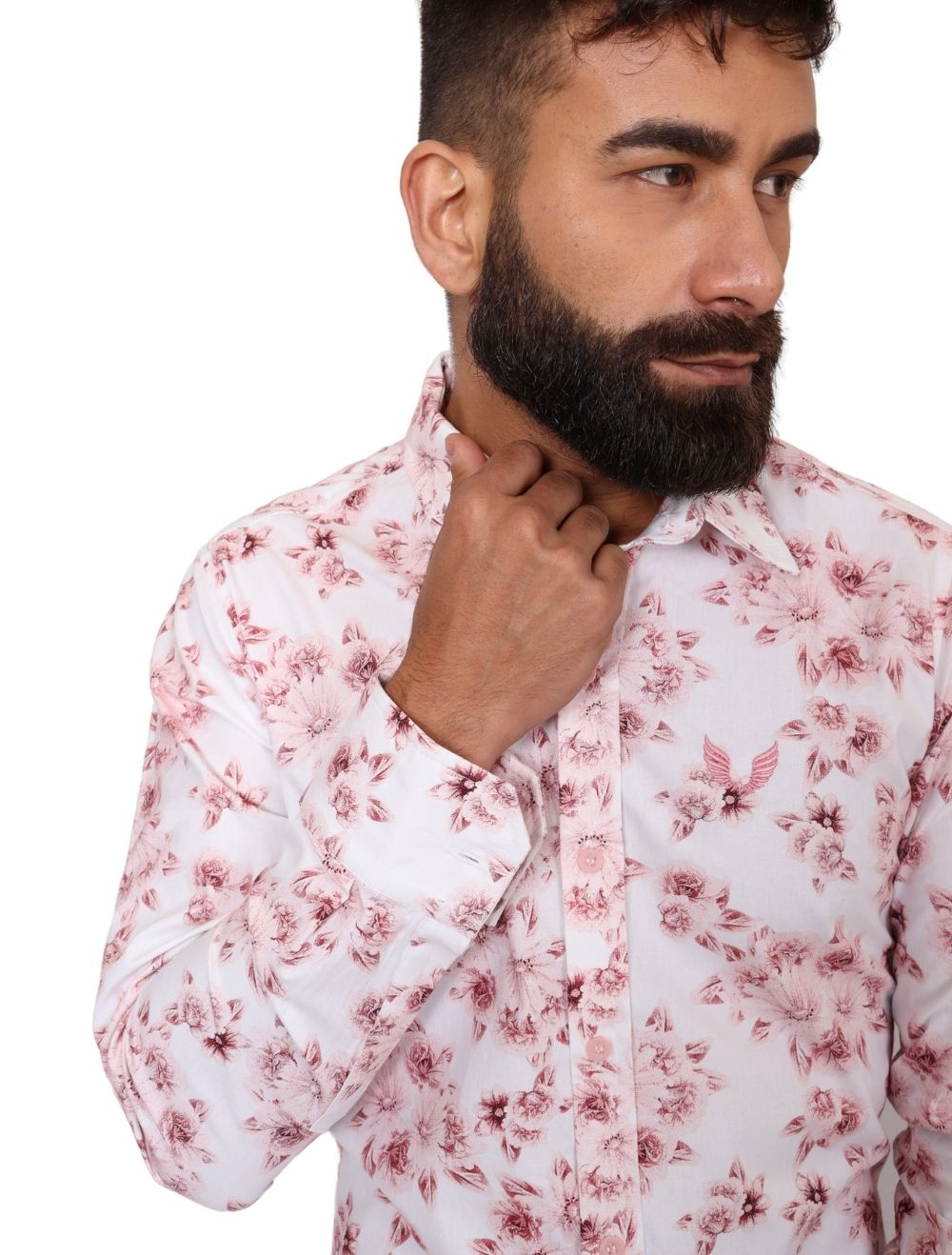 Camisa Masculina Slim Manga Longa Elastano Estampa Floral
