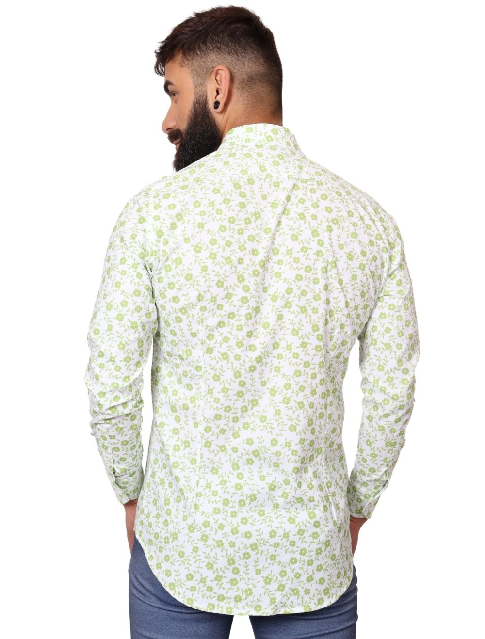 Camisa Masculina Slim Manga Longa Elastano Floral Verde