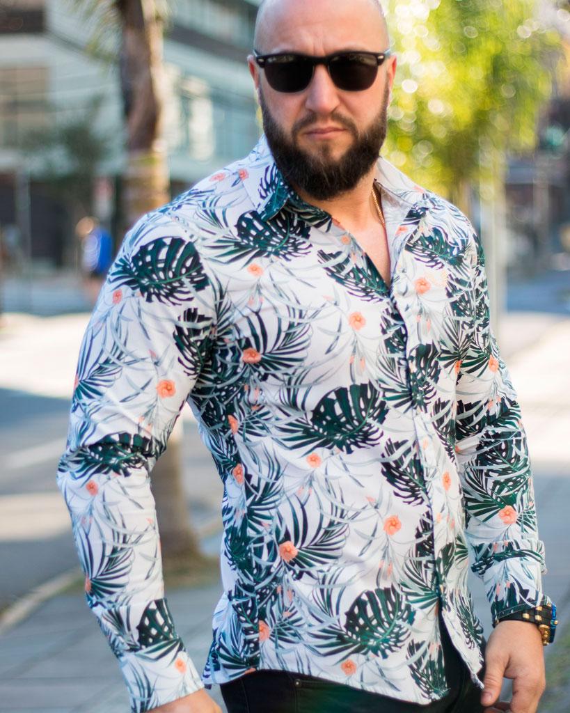 Camisa Masculina Slim Manga Longa Floral Estampada