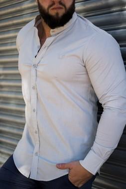 Camisa Masculina Slim Manga Longa Gola Padre Lisa com Elastano Branco