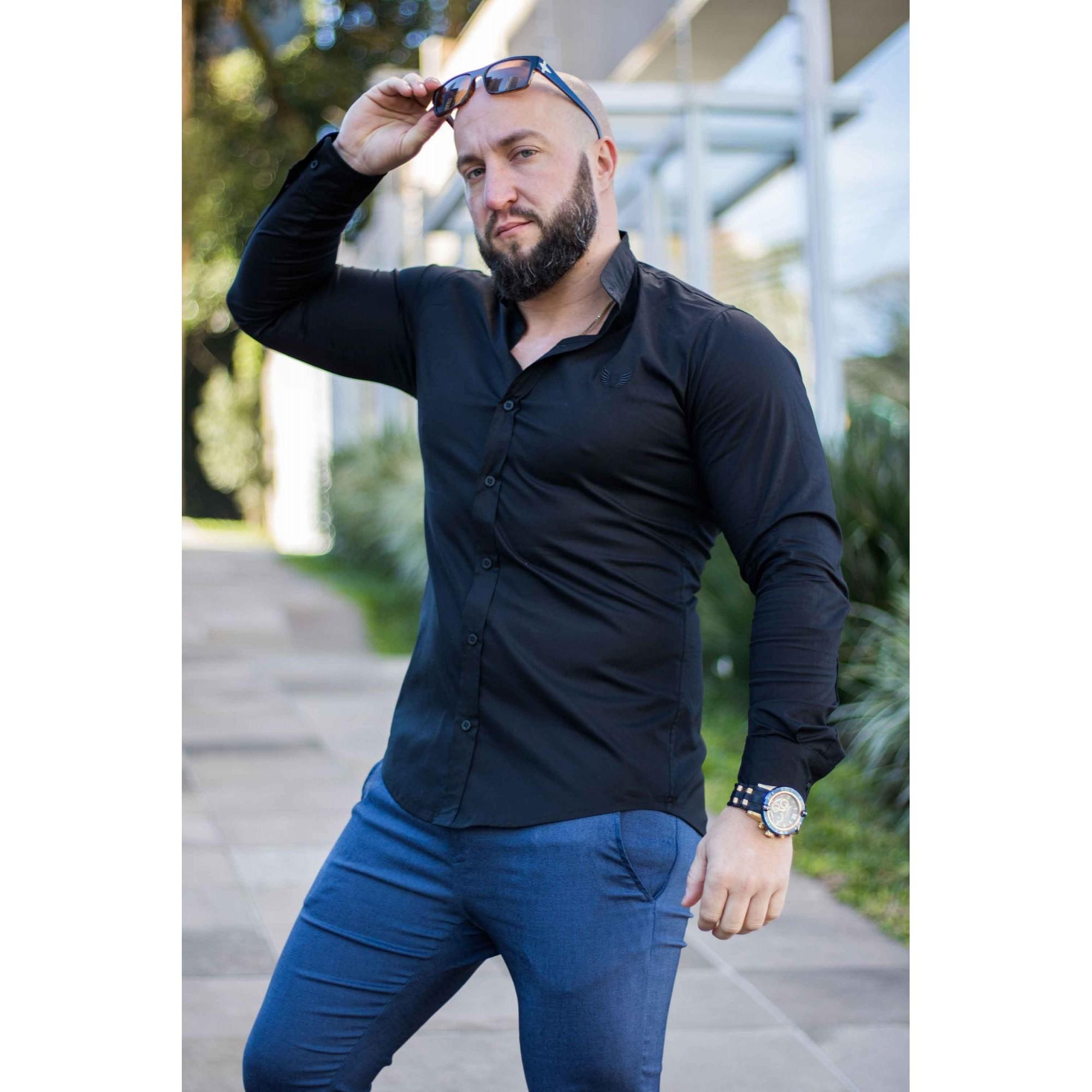 Camisa Masculina Slim Manga Longa Gola Padre Lisa com Elastano