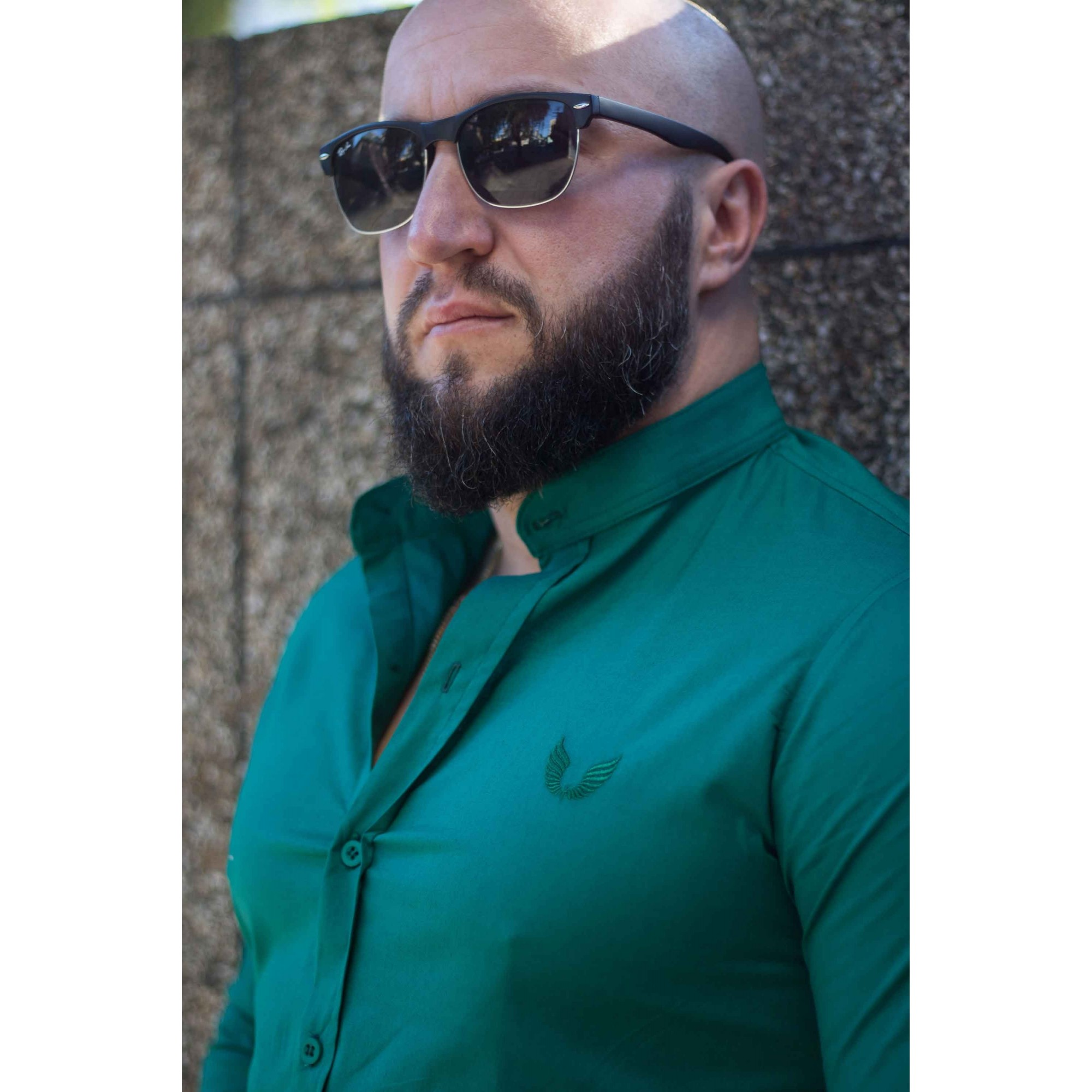 Camisa Masculina Slim Manga Longa Gola Padre Lisa com Elastano Verde
