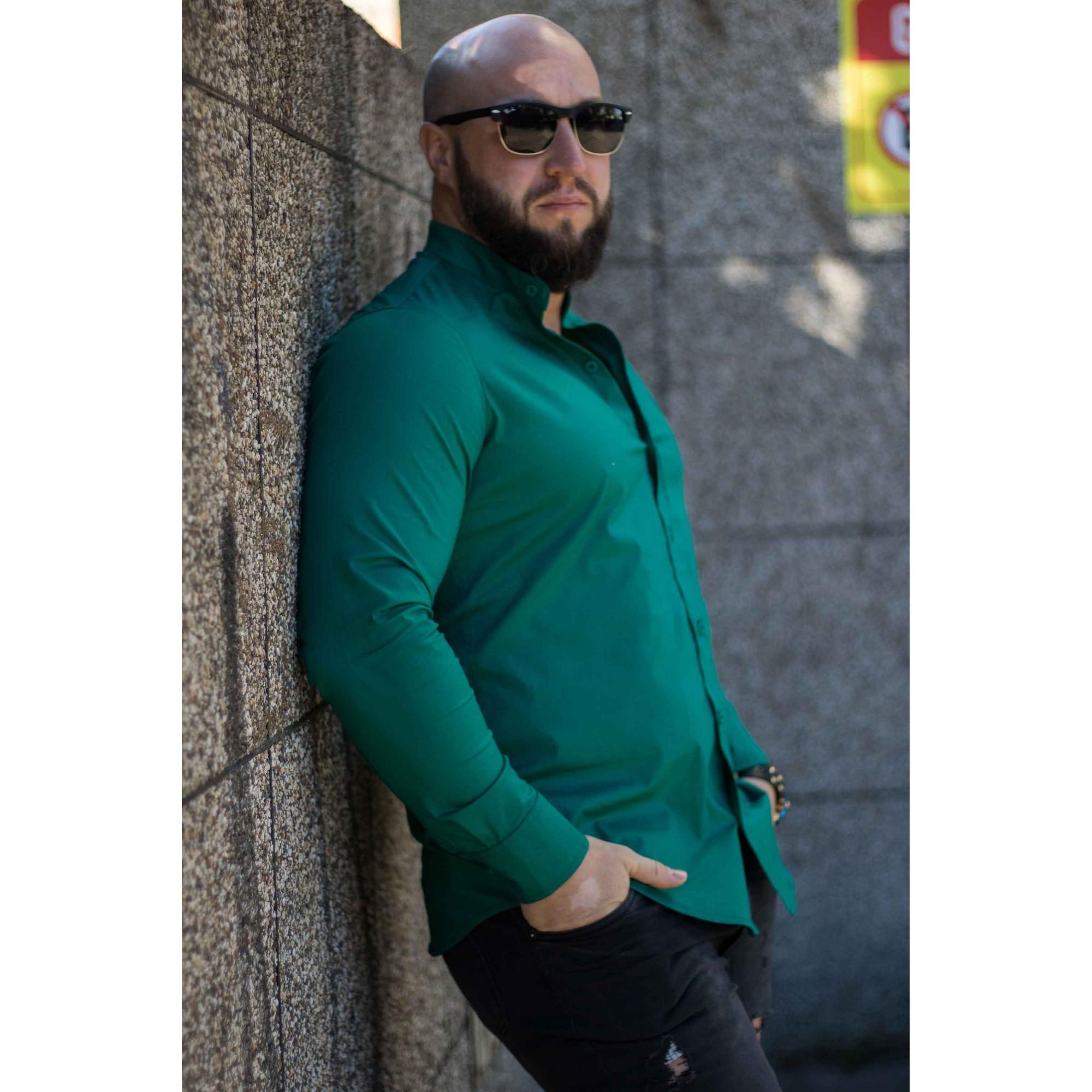 Camisa Masculina Slim Manga Longa Gola Padre Lisa Verde