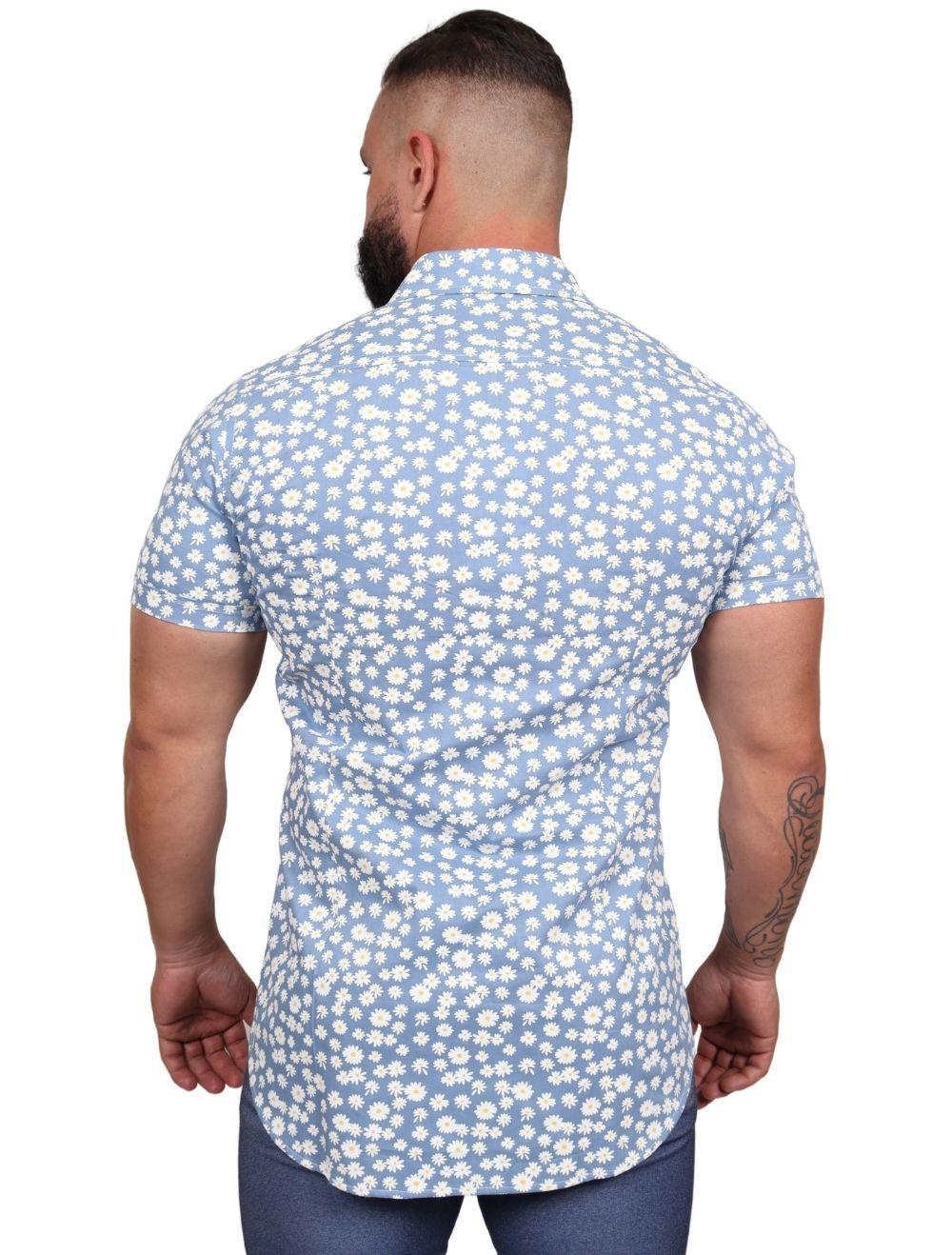 Camisa Masculina Slim Tricoline Margarida Azul