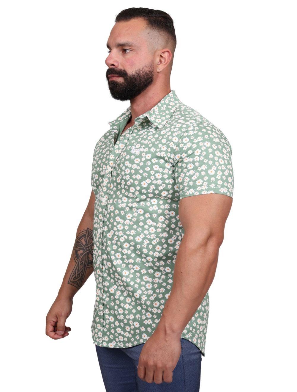 Camisa Masculina Slim Verde Estampa Margaridas